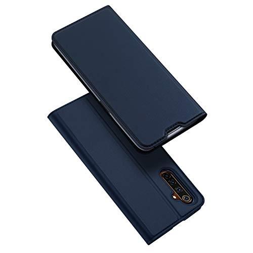 BaiFu Hülle für Realme 6 Lederhülle Flip Hülle mit Magnetischem Superdünnem seidigem Brieftasche Schutzhülle Kompatibel mit Realme 6-Blau