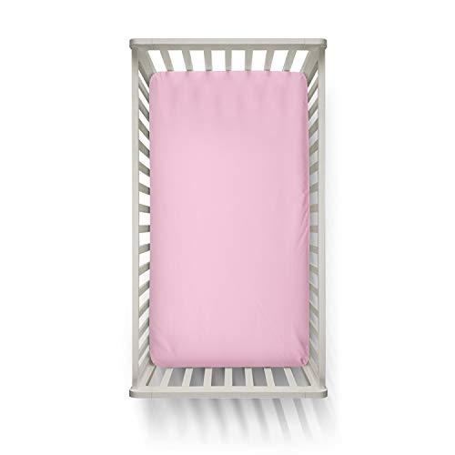 Melunda Baby Spannbettlaken 100% Baumwolle - Rosa - 60x120 / 70x140 cm - Spannbetttuch Jersey für Kinderbett - Oeko-Tex® Standard 100