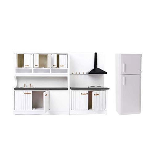 Miniature Dolls House Kitchen mano Dinning Room Decor Accessori bianco di lusso di Governo di legno Frigorifero Fridge Mobili 01:12 Bianco