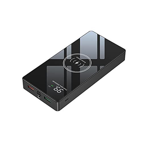 20000mAh Banco de la energía Espejo Pantalla LCD Cargador del teléfono 3 puertos Entrada 4 puertos Salida Cargador inalámbrico 22.5W Carga rápida 15W Cargador portátil inalámbrico