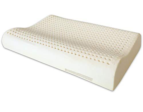 Marcapiuma - Kissen aus Naturlatex Modell Doppelwelle - Kopfkissen Latex gelocht Ultra atmungsaktiv Erholung natürlich und gesund - Höchster Komfort Ergonomisch antibakteriell - 100{071287ce8856f851fc08db1a16ecdc820a1994dfaff2dd32dbc42772017b3978} Made in Italy