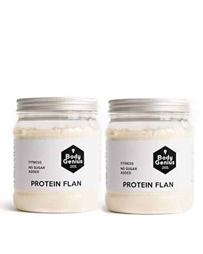 BODY GENIUS Dúo Protein Flan (Galleta). 2x275g. Preparado en polvo para flan proteico. Con Stevia y Sin Azúcares Ni Polialcoholes Añadidos. Alto en Proteína. Hecho en España.