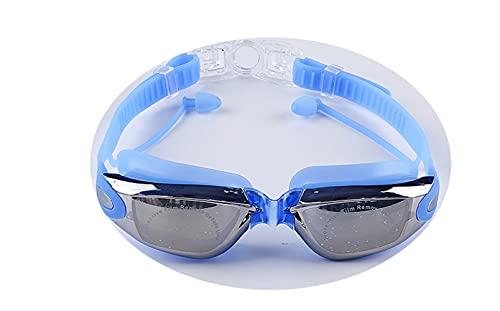 WFSH Gafas Ópticas Hombres Y Mujeres de Anteojos de la Miopía Impermeable Gafas de Baño Espejo Antivaho Ajustable Playa Anti-Uv Piscina la Refracción Del Agua Espejo Gorro de Natación/A