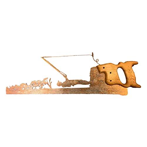 Hearthxy Decoración de pared de metal, sierra vintage, decoración de pared, salón, dormitorio, jardín, escultura, sierra artificial, adornos para el hogar y la oficina