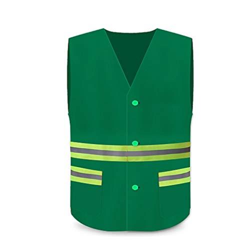 XINGZHE Warnweste Overalls Property Sanitärreinigung Breath Fluoreszierende Weste Nachtarbeit Highlight Warnweste, DREI Farben kann wählen BAU Weste (Color : Green)