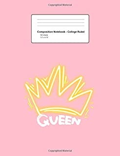 Composition Notebook - College Ruled: Queen Crown Retro  Tiara Royalty Beauty Girls Gift - Pink Blank Lined Exercise Book - Back To School Gift For ... Teens, Boys, Girls - 7.5