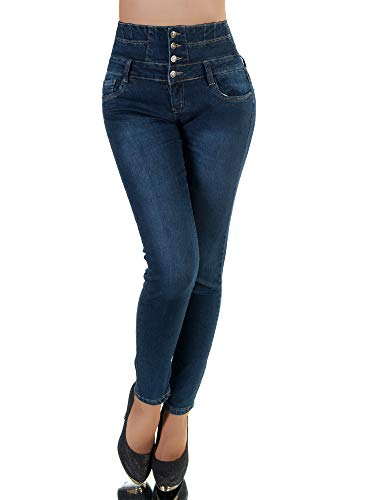 Diva-Jeans P173 Damen Jeans Hose Corsage Damenjeans High Waist Röhrenjeans Hochbund, Blau, 36