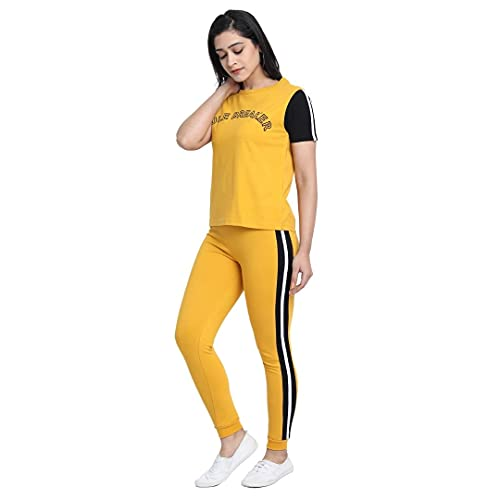 JUNEBERRY Cotton Half Sleeve & Leggings Pants Co-Ords Track Suit Set for Women and Girls (CO_01_YLW_Rule_M_Yellow_Medium)