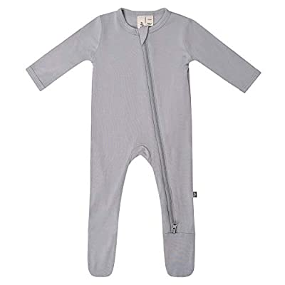 KYTE BABY Soft Bamboo Rayon Footies, Zipper Closure, 0-24 Months (6-12 Months, Storm)