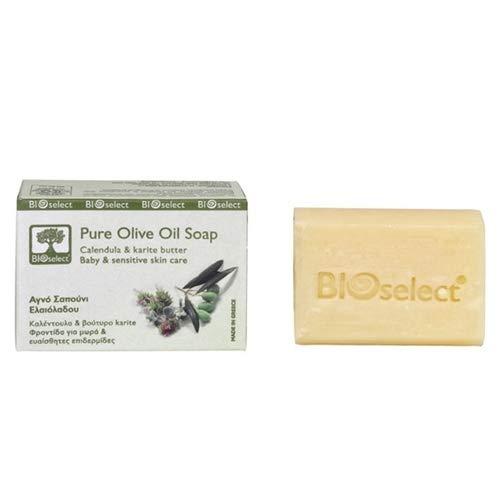 BIOselect Savon à l'huile d'olive organique pour bébé et peaux sensibles 80 ml