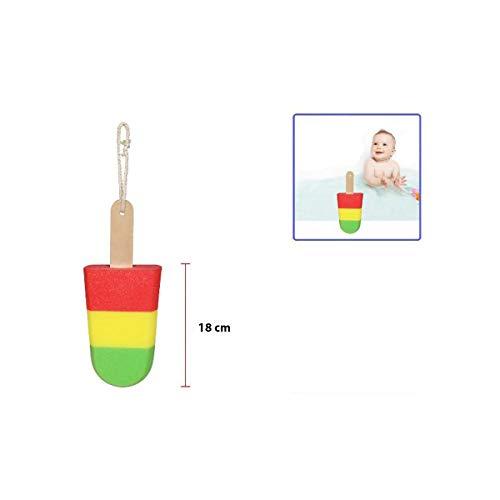 Cisne 2013, S.L. Esponja Infantil para la Ducha para niño o niña diseño Helado. Tamaño 18cm. Esponja para baño bebé Infantil Helado.