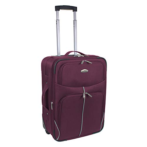 Extra Small Cabin Size Lightweight Hand Luggage Trolley Suitcase Travel Bag-RT32-21' & 18' (XSmall -18' (Cabin Size), Burgundy)
