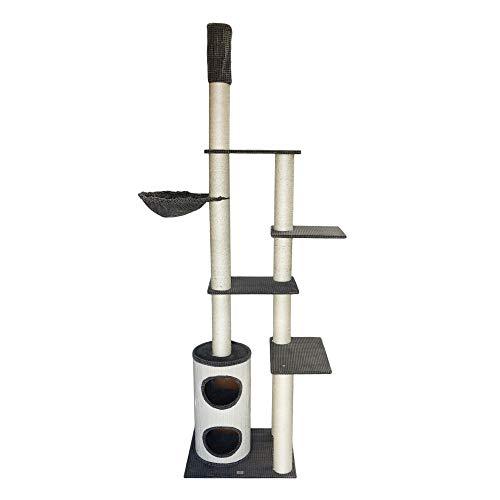 bontoy Kratzbaum Filou Pro   Deckenhoch   Stämme mit 12 cm Durchmesser   Farbe grau   70 x 55 x 240-260 cm   große Liegemulde mit 40cm Durchmesser