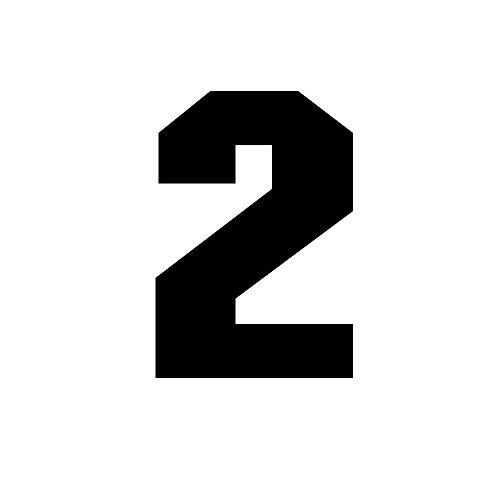 Wärmetransfer für Fußball/Baseball-Trikot, Nummer 0 ~ 9, Schwarz, Kinder, Zahl-2, Tall: 3
