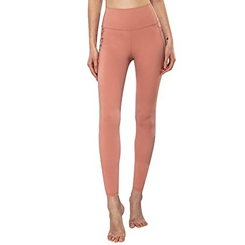 JNWBFC Pantalones De Yoga Mujer Leggings Pantalones De Bolsillo Cintura Alta Malla Costura Nalgas Elásticas Gimnasio Deportivo Color Sólido Levantamiento De Cadera