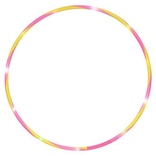 alldoro-Flames N Games-Aro de Hoop (72 cm, 11 ledes, para Deportes, Fitness y Gimnasia, para niños a Partir de 4 años y Adultos), Color Amarillo y Rosa, Ø (Manfred Roser 63008)