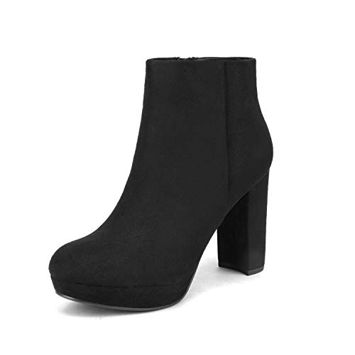 DREAM PAIRS Women's Stomp Black High Heel Ankle Bootie Size 6 B(M) US
