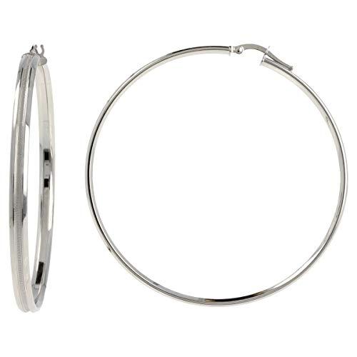 Gioiello Italiano - Orecchini a cerchio in oro bianco 14kt grandi, diametro 5.8cm, da donna
