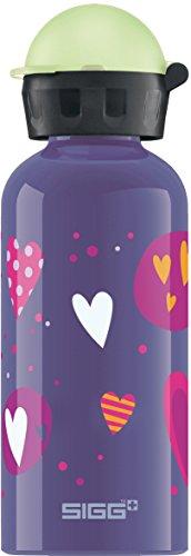 SIGG Glow Heartballoon Kinder Trinkflasche (0.4 L), schadstofffreie Kinderflasche mit auslaufsicherem Deckel, federleichte Trinkflasche aus Aluminium
