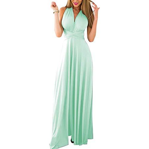 Lover-Beauty Kleider Damen V-Ausschnitt Rückenfrei Neckholder Abendkleider Elegant Cocktailkleid Multi-Way Maxikleid Lang Chiffon Party Kleid