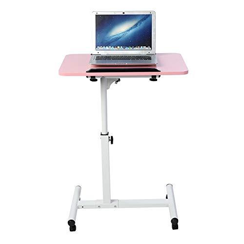 Wakects Laptop-Schreibtisch,Notebooktisch Sofatisch Laptopständer Wärmeableitungsdesign,Tragbarer Mobile Workstation Computertisch Stehpult Abnehmbarer Laptop mit DämpfungRädern (Pink)