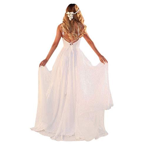 Tomwell Damen Elegant Ärmellos V-Ausschnitt Spitzenkleid Brautjungfer Partykleid Festliches Kleid Chiffon Faltenrock Langes Kleid G DE 34