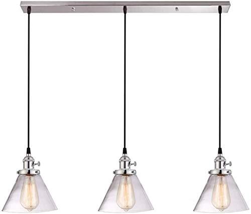 Lámpara colgante retro de estilo industrial, 3 luces, lámpara de araña con pantalla de cristal transparente para colgar en mesa de comedor, sala de estar, dormitorio (color: negro)
