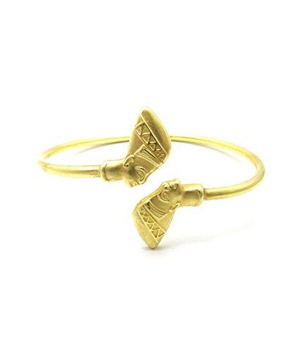 Egyptian Pyramid, Queen Nefertiti, Fist Piece 100% Solid Brass Cuff Bangle Bracelet (Nefertiti/Medium)