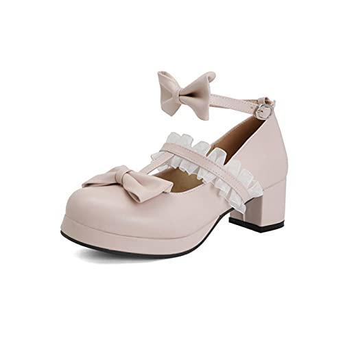 Zapatos de encaje dulce con lazo, Mary Jane Lolita Cosplay hebilla correa...