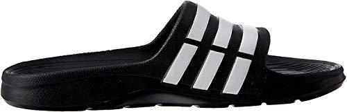 Adidas DURAMO SLIDE, Unisex-Erwachsene Dusch- & Badeschuhe, Schwarz (Black/White/Black), 44 1/2 EU (10 UK)