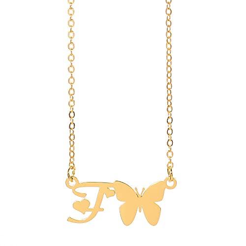 Złoty kolor AZ litery motyl naszyjnik amuleto ze stali nierdzewnej alfabet łańcuch romanos prosty moda miłość naszyjnik dla pani-F