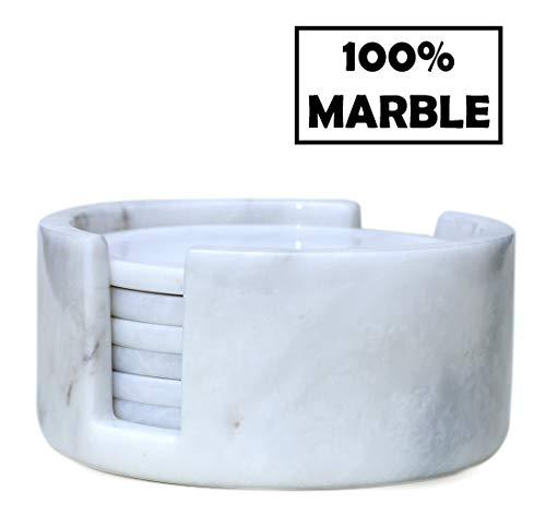 Radicaln Untersetzer-Set, handgefertigt, Marmor, 8,9 cm, wärmende Kaffeetasse, Büro-Untersetzer - Küchen-Caddy-Getränke, Löffelablage, saugfähig, Untersetzer-Set – weiß Marble Coaster Set