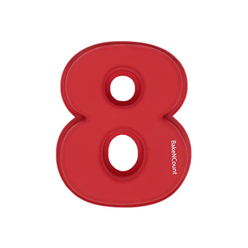 BakeNCount Kuchen Backform Zahlen | extra Groß, Antihaft-Beschichtung | Kuchenform aus Silikon Perfekt für Geburtstag Jubiläum | Geburtstagskuchen backen (Zahl 8)