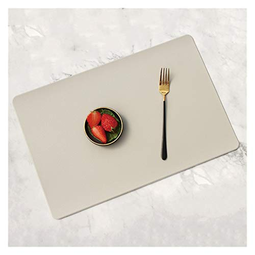 YMYGCC PU Leather Coaster Placemat For Dining Table Heat Insulation Mat Waterproof Rectangle Table Pad Bowl Placemat table placemats 881 (Color : Beige gray, Size : 45X30CM)