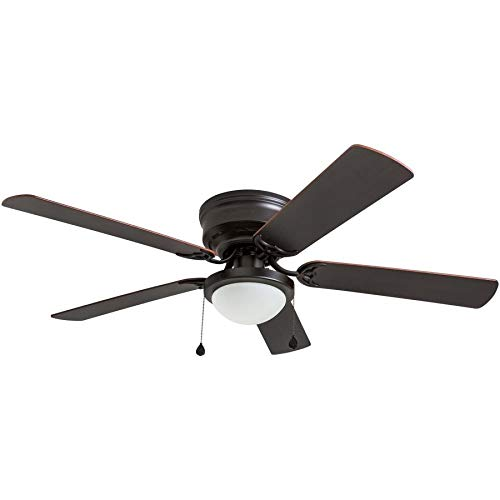Harbor Breeze Armitage 52-in Bronze Flush mount Indoor Ceiling Fan with Light Kit