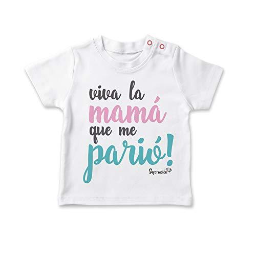 SUPERMOLON Camiseta bebé Viva la mamá que me parió! Blanco 1-2 años