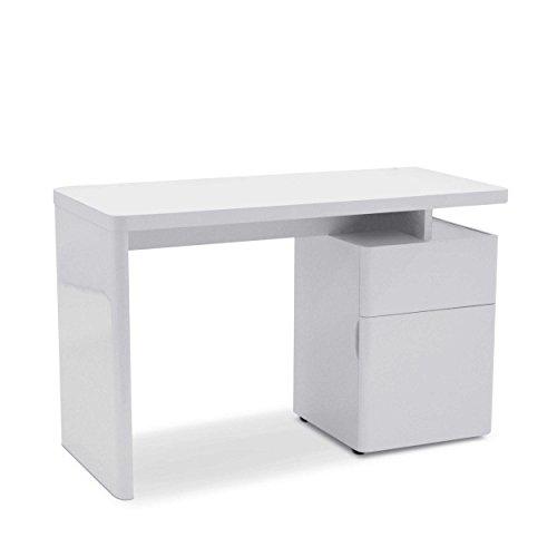 Jahnke Schreibtisch, E1 Spanplatte, Dekorbeschichtung, Metall, Hochglanz-weiß, 120 x 55 x 76 cm
