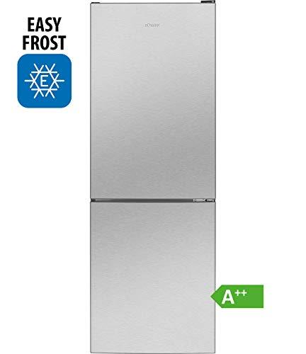 Bomann Kühl-/Gefrierkombination KG 7320 / Easy-Frost/Wechselbarer Türanschlag/LED-Beleuchtung / Edelstahl-Optik
