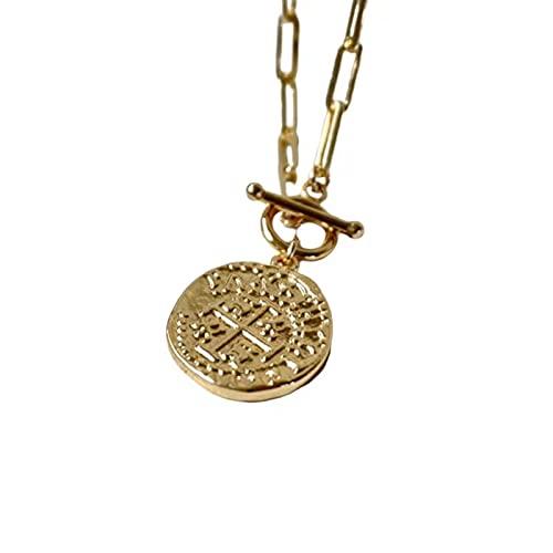 Capa De Botón Clip De Papel Moneda GriegaHoras ExtraordinariasCierre Collar Lazo Medallón Collar Colgante Ovalado En Forma De Cadena