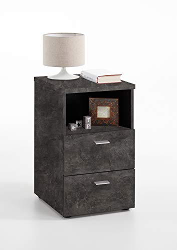 FMD furniture 652-001E, nachtkastje in uitvoering donker dark atelier, afmetingen ca. 35 x 61,5 x 40 cm (BHT), spaanplaat met melaminehars.