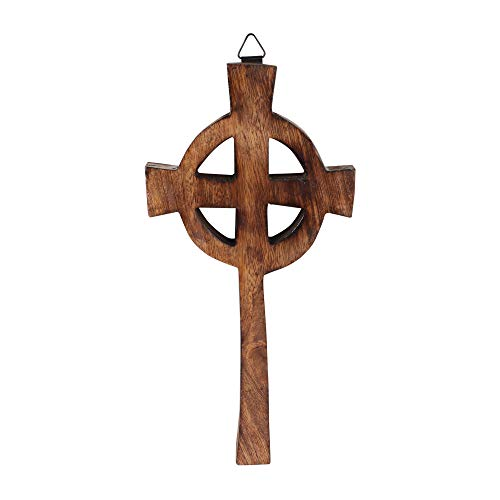 Ardour 11.7 Inch Decorative Large Wooden Celtic Wall Cross For Home Decor Living Room.Brown Celtic Wooden Hanging Wall Cross,Christian Cross for Wall of Crosses,Religious Home Decor - Brown