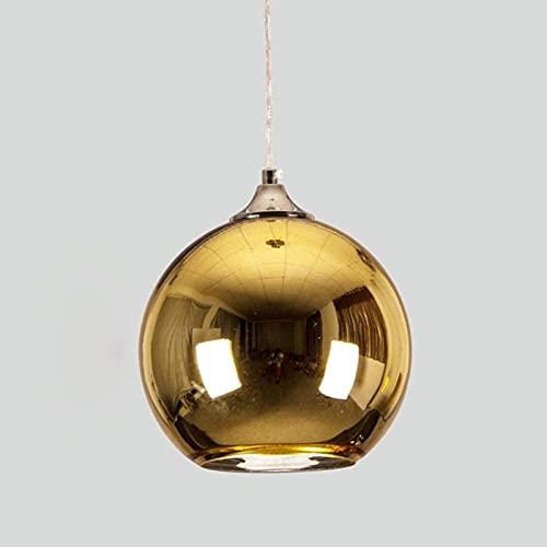 DZCGTP Lámpara Colgante de Cobre, luz de suspensión con Forma de Globo de Cristal, Moderno y Creativo, Espejo de Cristal Cromado de una Sola Cabeza Reflectante Transparente B
