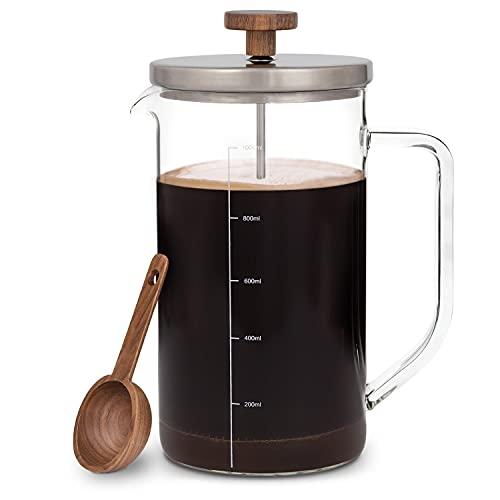 GLASWERK Design French Press (1L) - Kaffeebereiter mit Portionierlöffel aus Walnussholz und Edelstahldeckel - plastikfreie Kaffeepresse