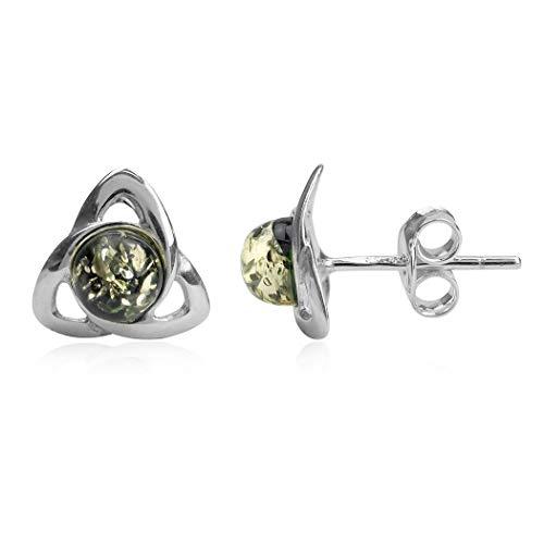 Green Amber Sterling Silver Celtic Stud Earrings