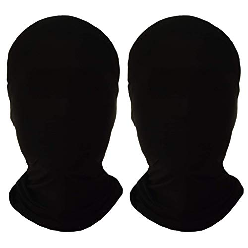 2 Pieces Full Face Mask, Black 2nd Skin Masks,Halloween Spandex Hood for Unisex Cloth