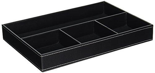 UnionBasic soporte de 4ranuras de cuero, cajón bandeja para escritorio, Sundries Gadget organizador caja de almacenamiento para contener pluma lápiz estuche , color negro
