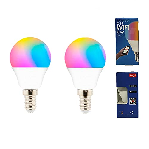 L771457 - Pack 2 Bombilla LED Inteligente Smart G45 E14 Dimable CCT+RGB 6W WiFi Regulable APLICACIÓN Compatible con Amazon Alexa y Google Home.