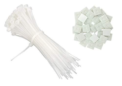 intervisio Set Kabelbinder 200mm x 2,5mm, weiß, 100 Stück und Klebesockel für Kabelbinder, 19mm x 19 mm, weiss - natur, 50 Stück