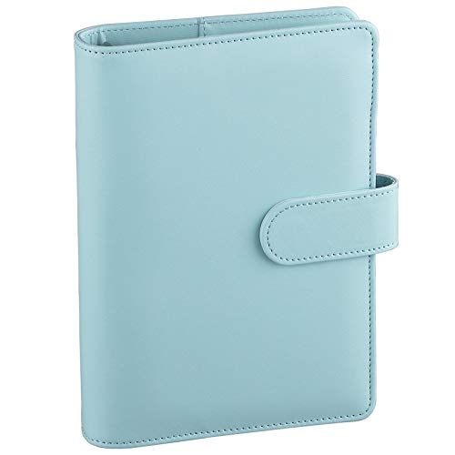 Antner A6 PU Leather Notebook Binder Refillable 6 Ring Binder for A6 Filler Paper, Loose Leaf Personal Planner Binder Cover with Magnetic Buckle, Mint Blue