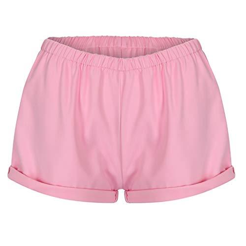 Ansenesna Shorts Damen Zum Schlafen Elastische Taille Elegant Hose Frauen High Waist Einfarbig Freizeit Hosen